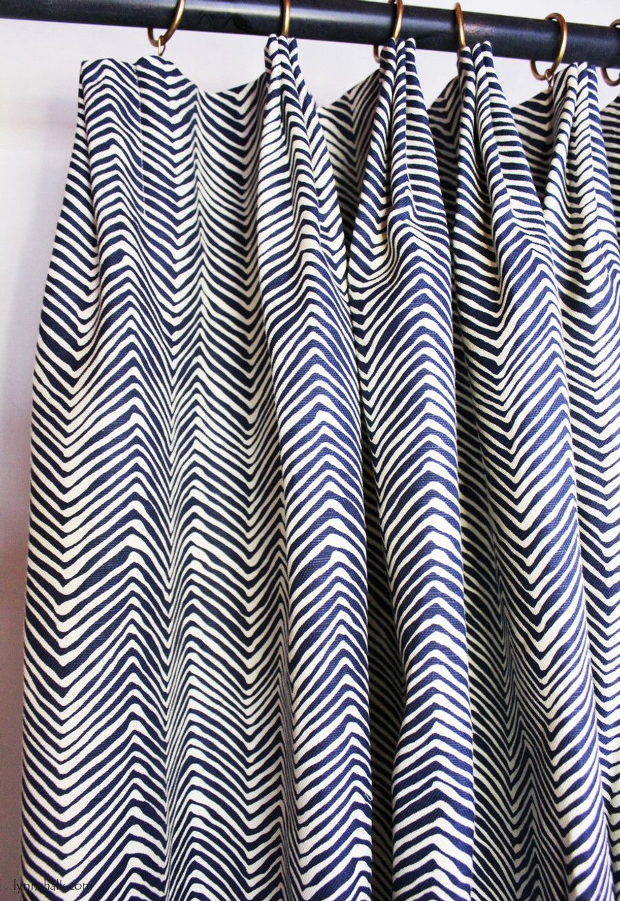 Fan Pleated Drapes in Quadrille Alan Campbell Petite Zig Zag -Navy on Tint