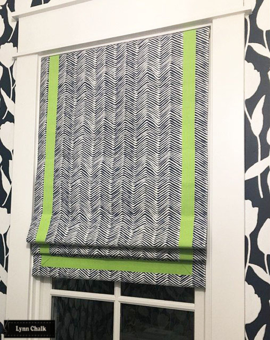 Roman Shade in Quadrille Petite Zig Zag Navy with Samuel & Sons Grosgrain Ribbon Trim in Peridot
