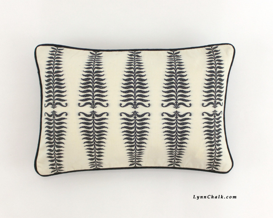 Schumacher Fern Tree 12 X 18 Pillow with Black Welting
