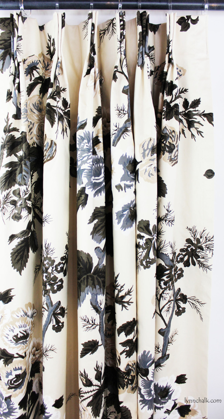 Custom Pinch Pleated Drapes in Pyne Hollyhock Print in Charcoal