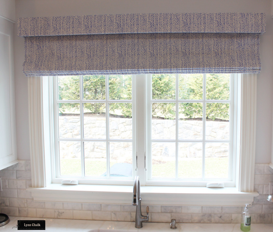 Roman Shade with Separate Box Valance in Mojave Periwinkle on Tint