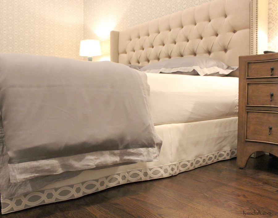 Bedskirt in Trend 01838T 07 with Samuel & Sons 977 56199 Trim.
