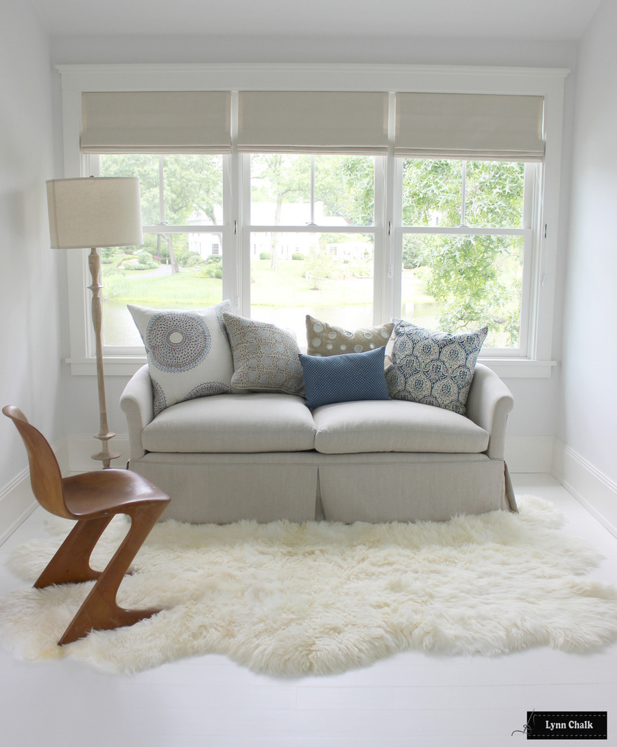 Roman Shades in Triple Window with Blackout Lining