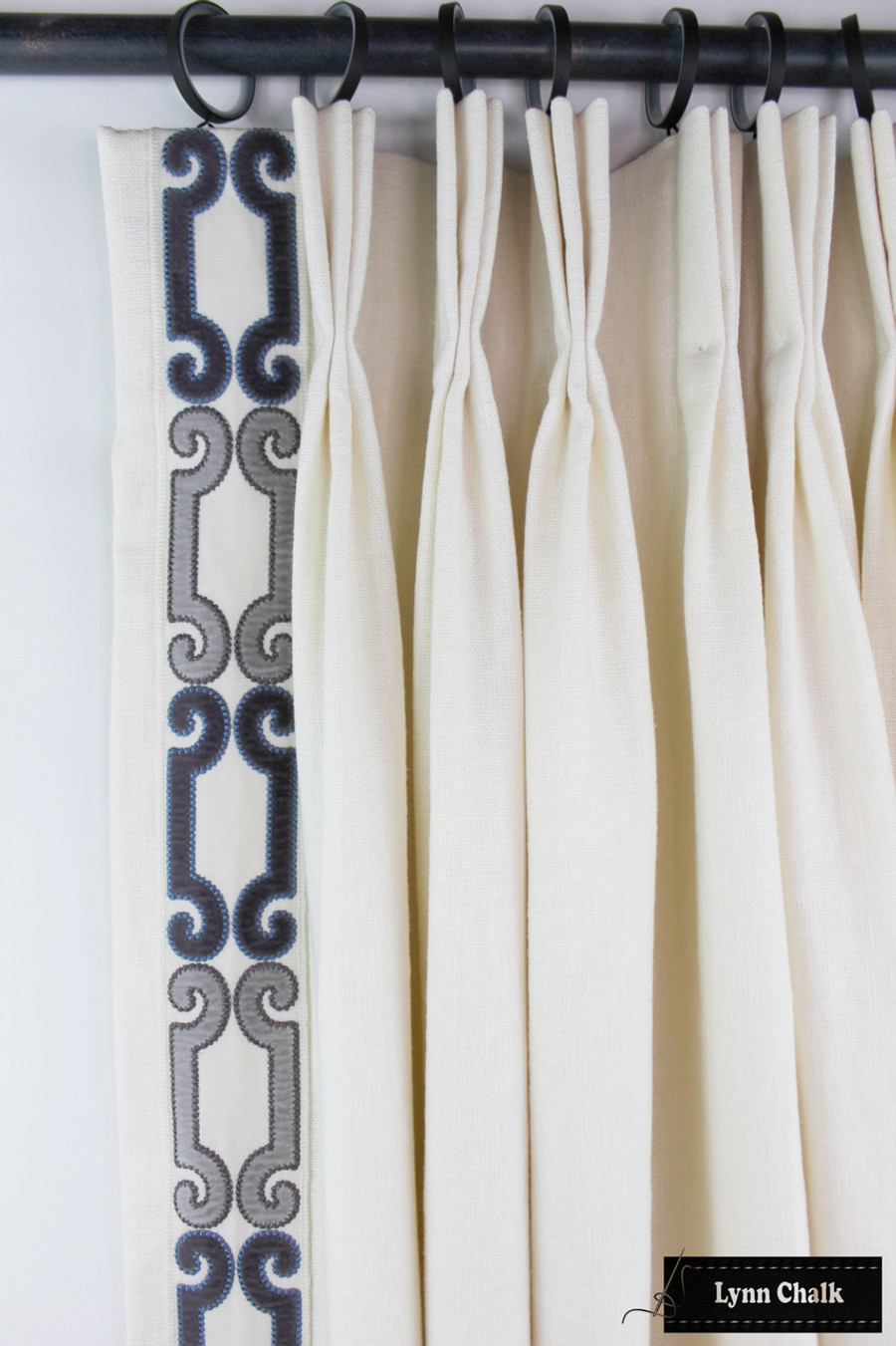 "Trend 01838 Glacier Drapes with Zimmer Rohde Velvet Scroll Trim 2.75"" Navy Gray 2860012598"