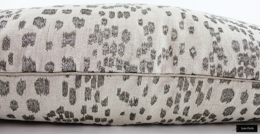 Pillow in Brunschwig Les Touches Embroidered in Stone.  Welting Holland and Sherry cord DE97106 BT.