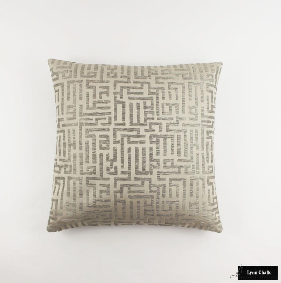 Pillow in Holly Hunt Written in Code Pale Silver 1129 01