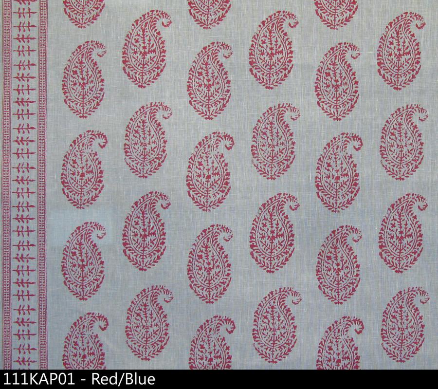 Peter Dunham Kashmir Paisley Red Blue 111KAP01