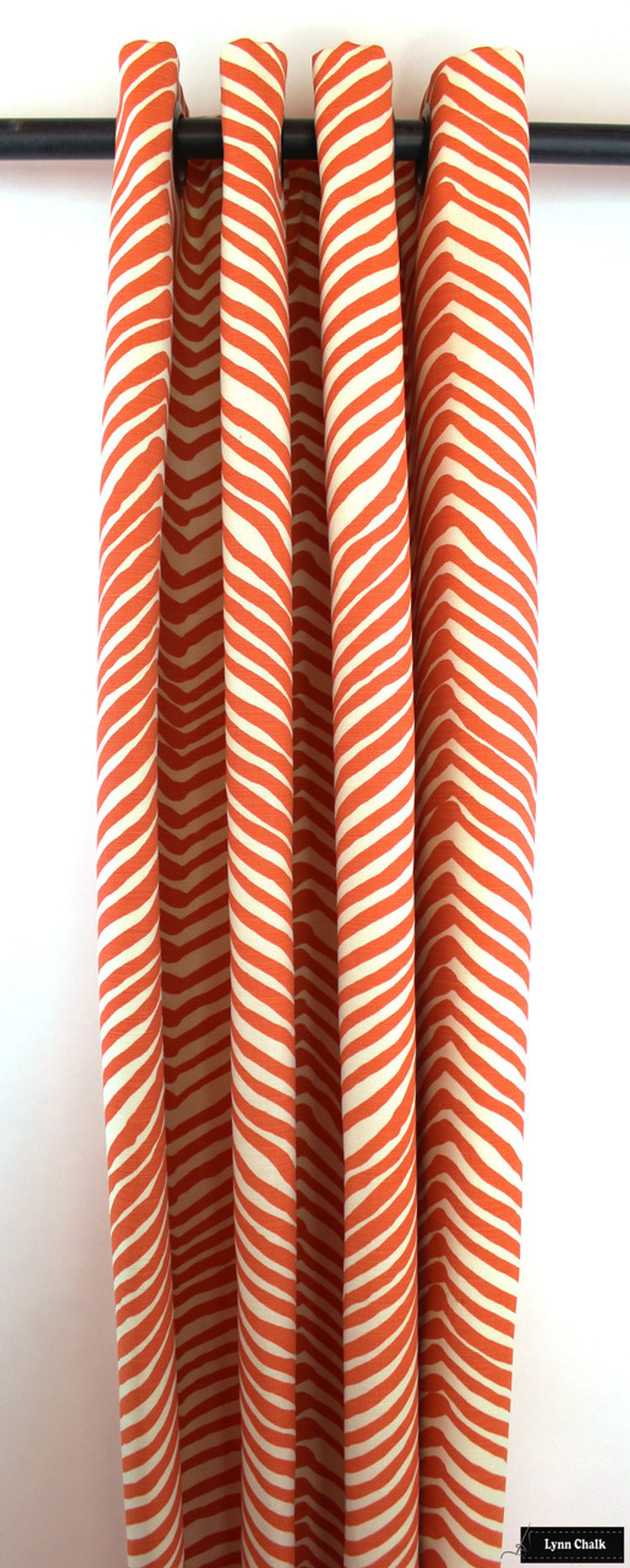 Quadrille Alan Campbell Zig Zag Roman Shade in Orange with Samuel & Sons Navy Trim