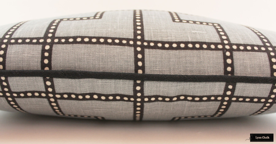 Schumacher Celerie Kemble Bleecker Pillows in Twilight with Black Welting (also comes in Spark and Peacock) 2 Pillow Minimum Order