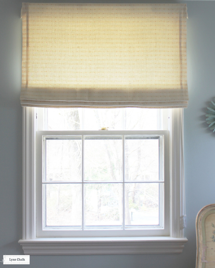 Quadrille Soho Custom Color Yellow with Pink Dots on Tint Roman Shade