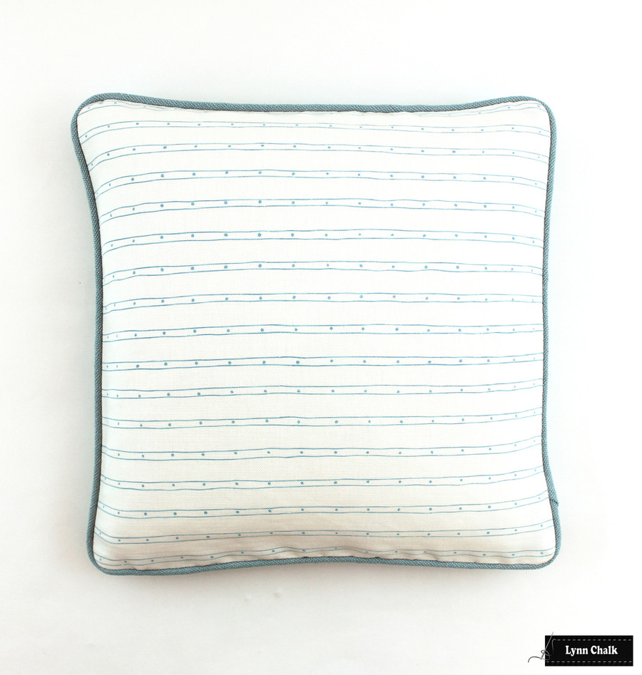 Quadrille Soho Custom Color Blue on White Pillow with Robert Allen Heirloom in Dew Welting (18 X 18)