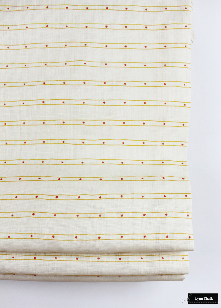 Quadrille Soho Custom Color Yellow with Pink Dots Roman Shade