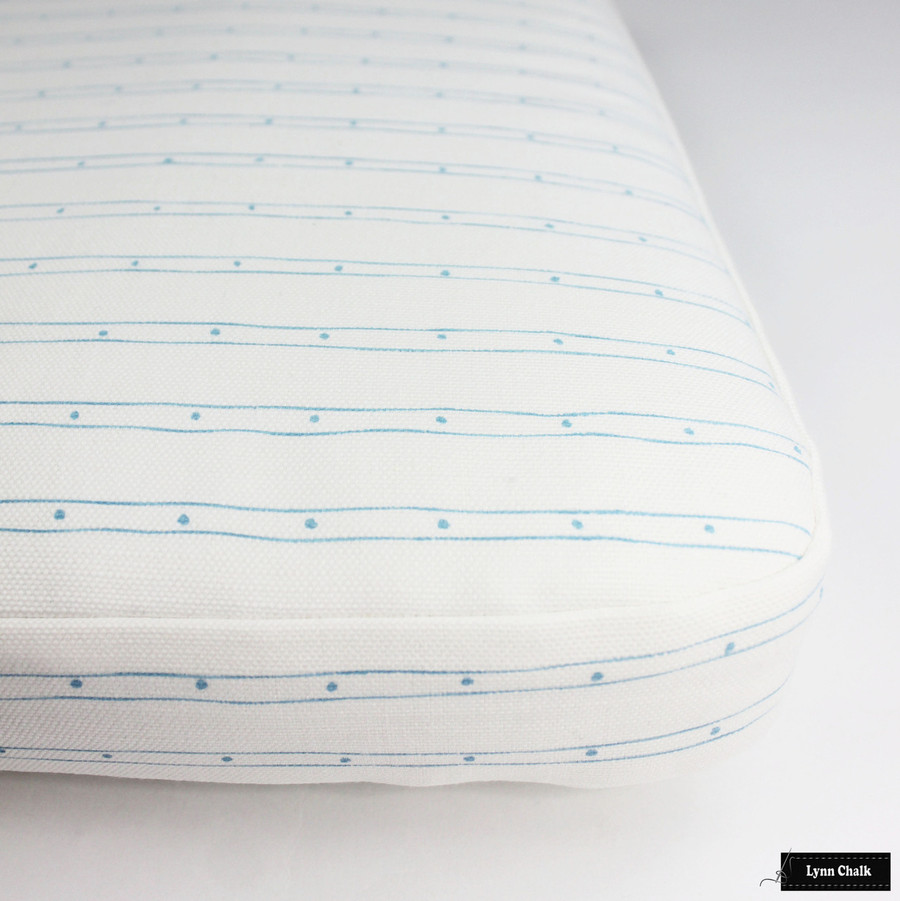 Quadrille Soho Custom Color Blue on White Seat Cushion