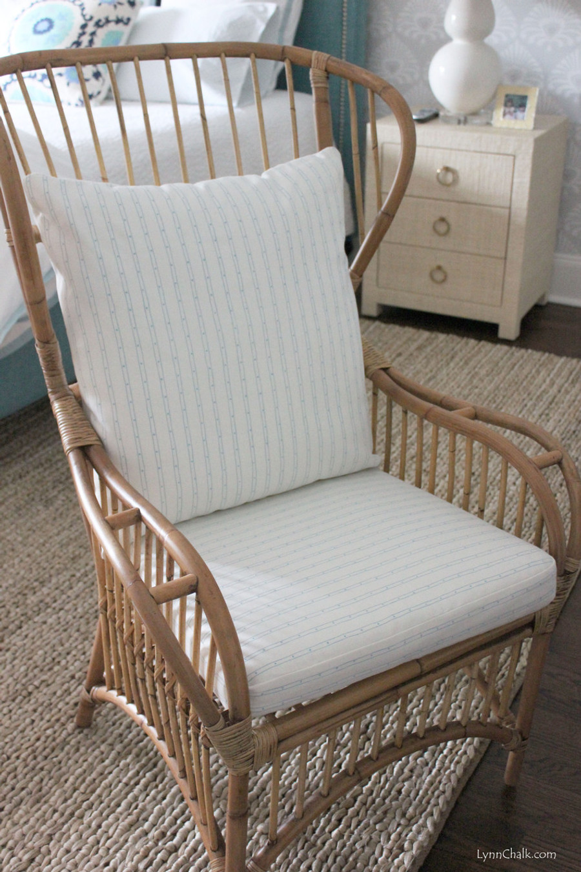 Quadrille Soho Custom Color Blue on White Seat Cushions