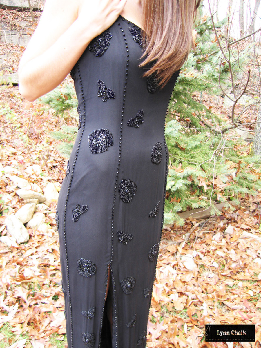 One-of-a-kind Hand Beaded Dress by Lynn Chalk with Flowers, Spiders and Caterpillars in all Black Beads on Silk Chiffon