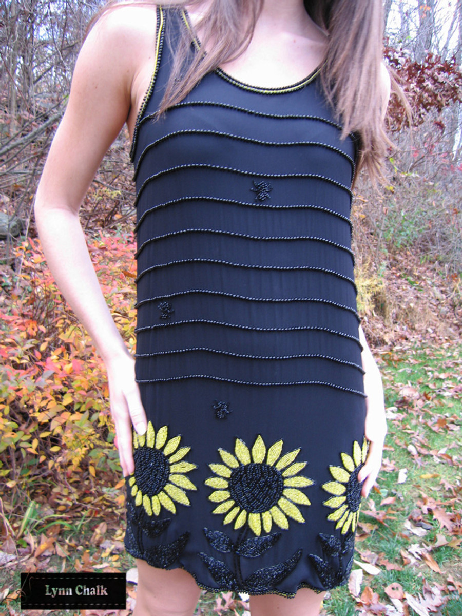 One-of-a-kind Hand Beaded Black Chiffon Sunflower and Spider Dress by Lynn Chalk