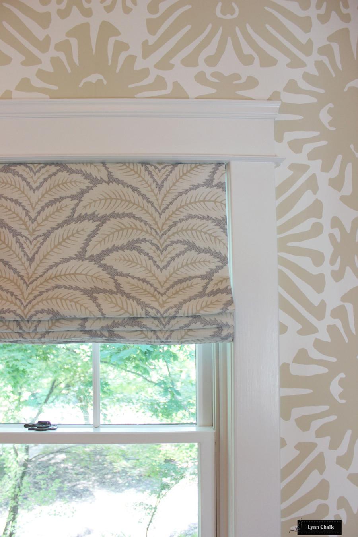 Brunschwig & Fils Talavera Linen in Birch Roman Shades with Quadrille Sigourney Wallpaper