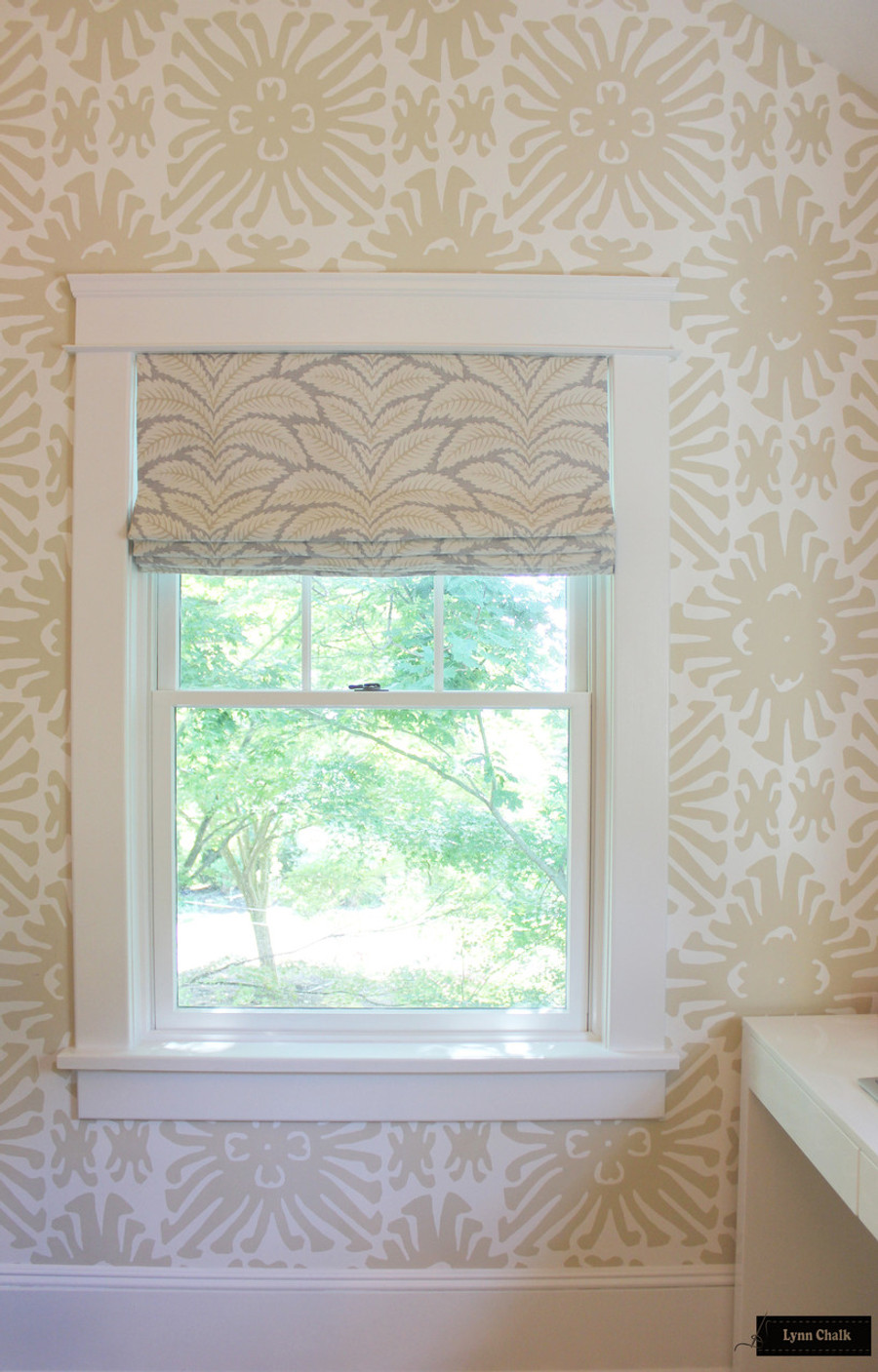 Brunschwig Fils Talavera Linen In Birch Roman Shades With Quadrille Sigourney Wallpaper