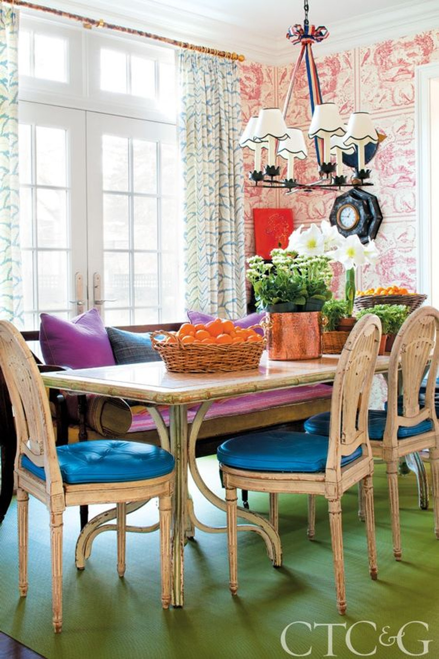 Dining Room Drapes In Brunschwig Fils Talavera Aqua Connecticut Cottages