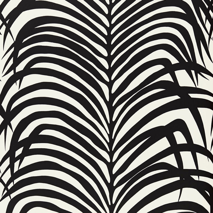 Schumacher Zebra Palm Wallpaper In Ebony 5006932
