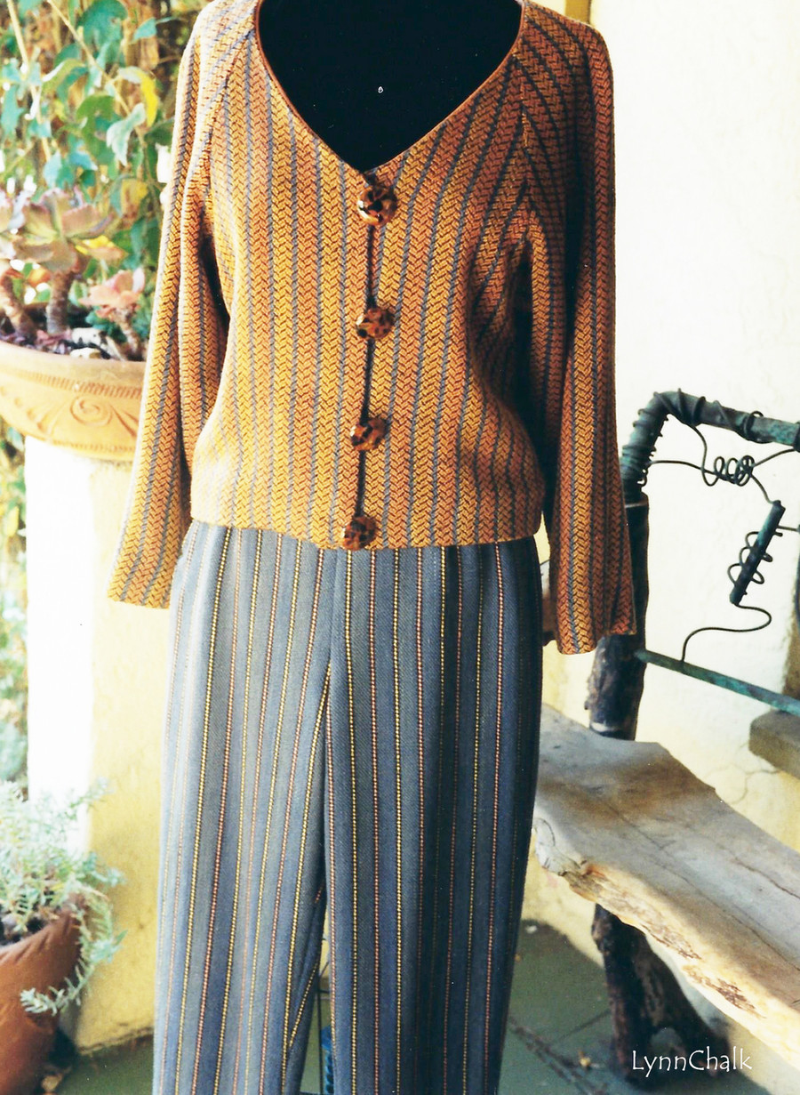 Handwoven Silk Jacket and Pants.  Silk Yarns were hand dyed before fabric was woven.   Jacket and Pants woven, designed and sewn by Lynn Chalk.