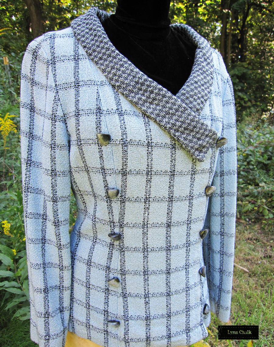 Handwoven Jacket Double Breasted.  Fabric features 30 different shades of Blue in Silk, Rayon and Chenille.  Yarns were hand dyed before fabric was woven.     Jacket woven, designed and sewn by Lynn Chalk.