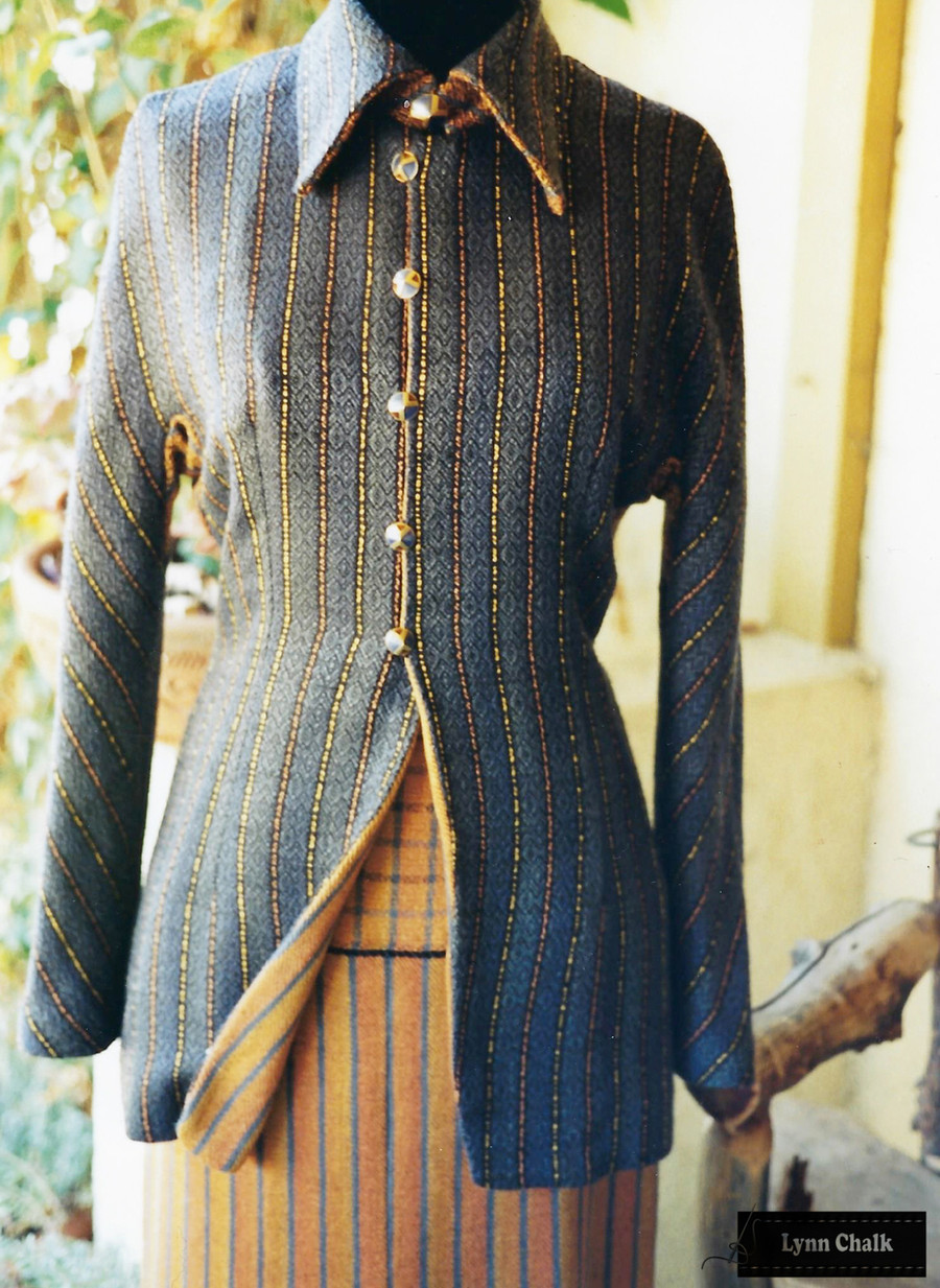 Handwoven Silk Jacket and Long Skirt.  Silk Yards were hand dyed before fabric was woven.  Jacket and Skirt woven, designed and sewn by Lynn Chalk.
