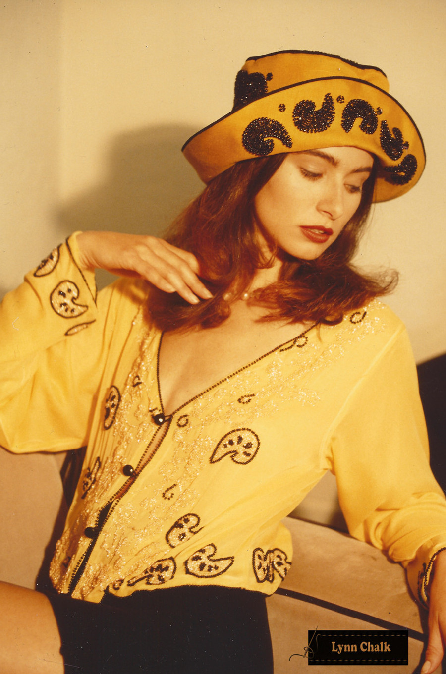 Yellow Silk Chiffon Hand Beaded Paisley Top with Beaded Hat by Lynn Chalk