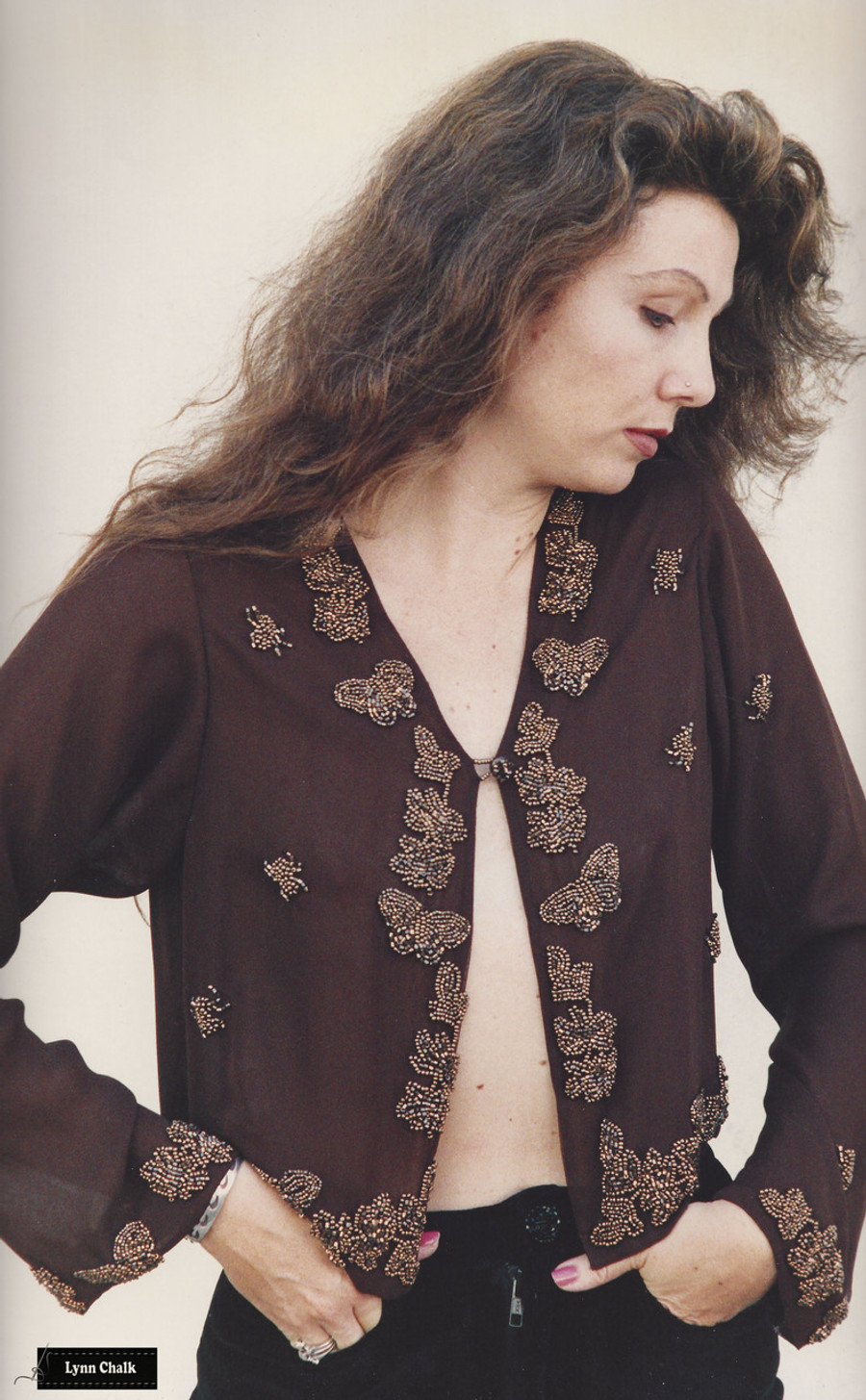 Chocolate Brown Silk Chiffon Top with Gold Hand Beaded Butterflies, Flowers and Spiders by Lynn Chalk