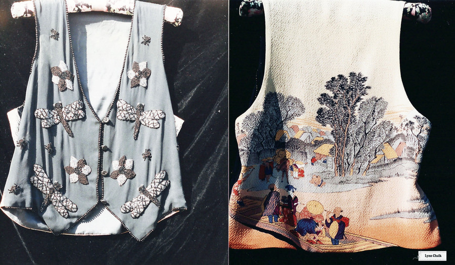 Gray and Silver Silk Chiffon Hand Beaded Vest with Japanese Silk Screen Back