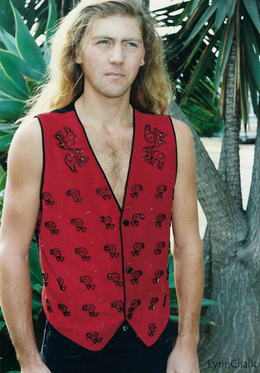 Suede Hand Beaded Vest with Ancient Peruvian Design and Black Glass Buttons
