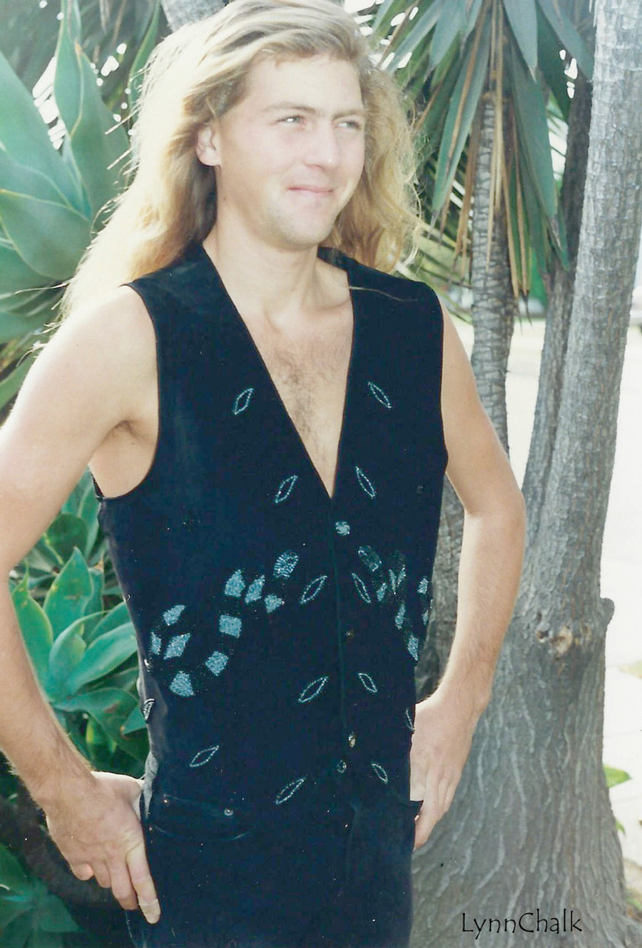 Black Suede Serpent Hand Beaded Vest with Black Glass Buttons