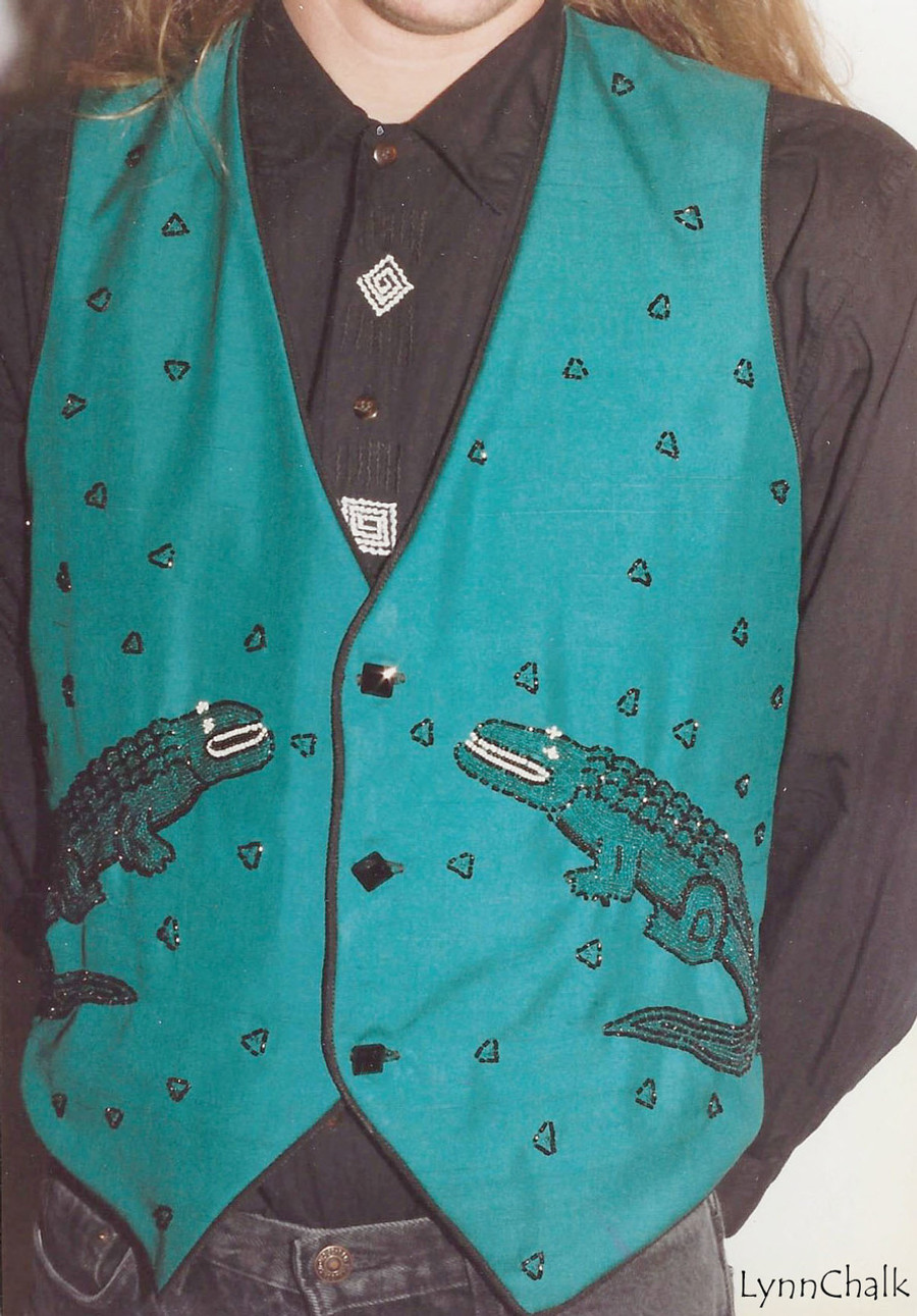 Green Silk Hand Beaded Vest with Alligators and Black Glass Buttons