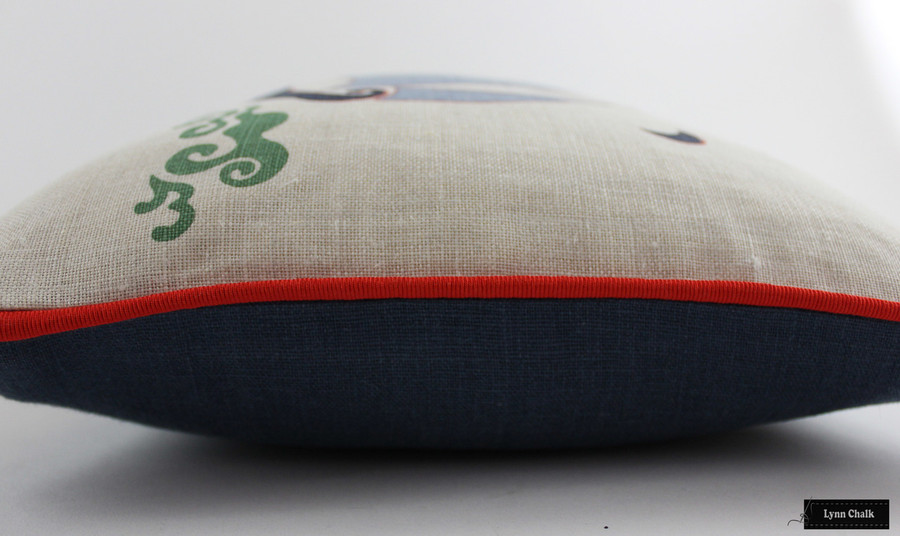 Katie Ridder Beetlecat Pillow in Lavender (18 X 18) with Tomato Red Welting and Navy Blue Back