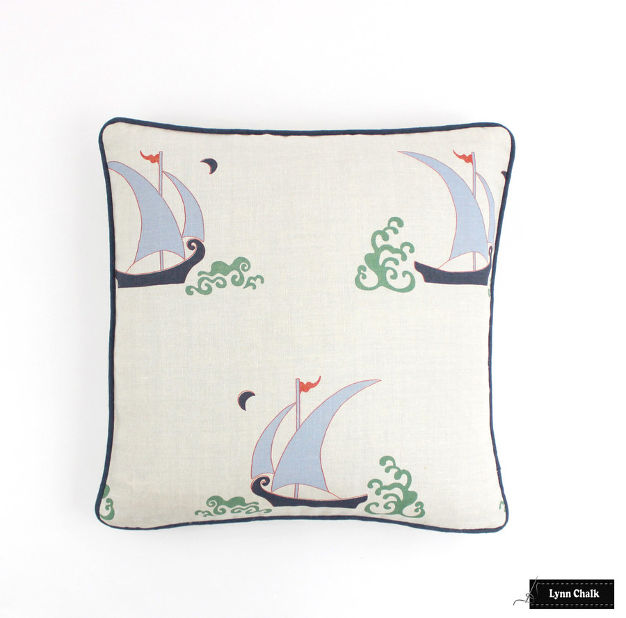 Katie Ridder Beetlecat Pillow in Lavender (18 X 18) with Navy Welting