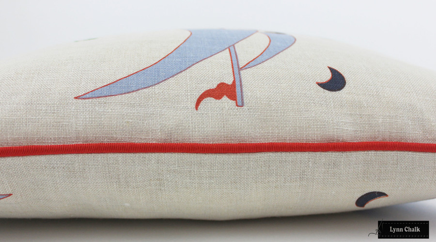 Katie Ridder Beetlecat Pillows 18 X 18 in Lavender Blue with Tomato Red Welting (Front in Beetlecat - Back in Natural Linen)