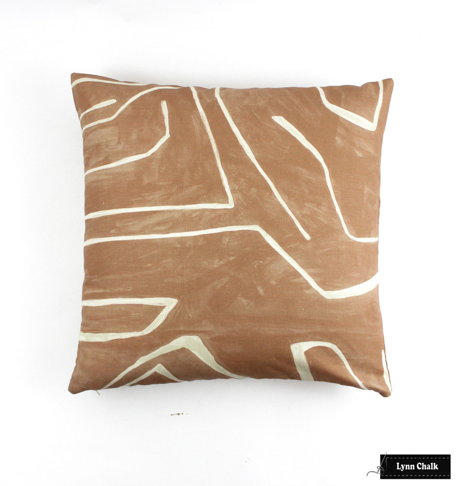 Kelly Wearstler for Lee Jofa Graffito Pillows in Linen/Onyx with Black Welting (comes in several colors)
