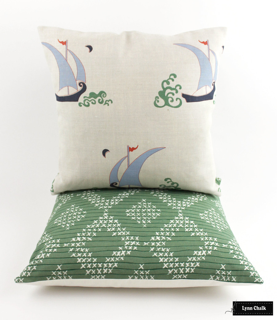 Pillows - Katie Ridder Beetlecat with and Sister Parish Pocantico in Fern