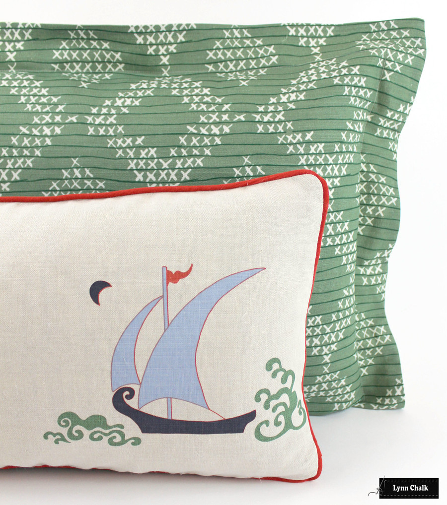 Pillows - Katie Ridder Beetlecat with Red Welting and Sister Parish Pocantico with Flange