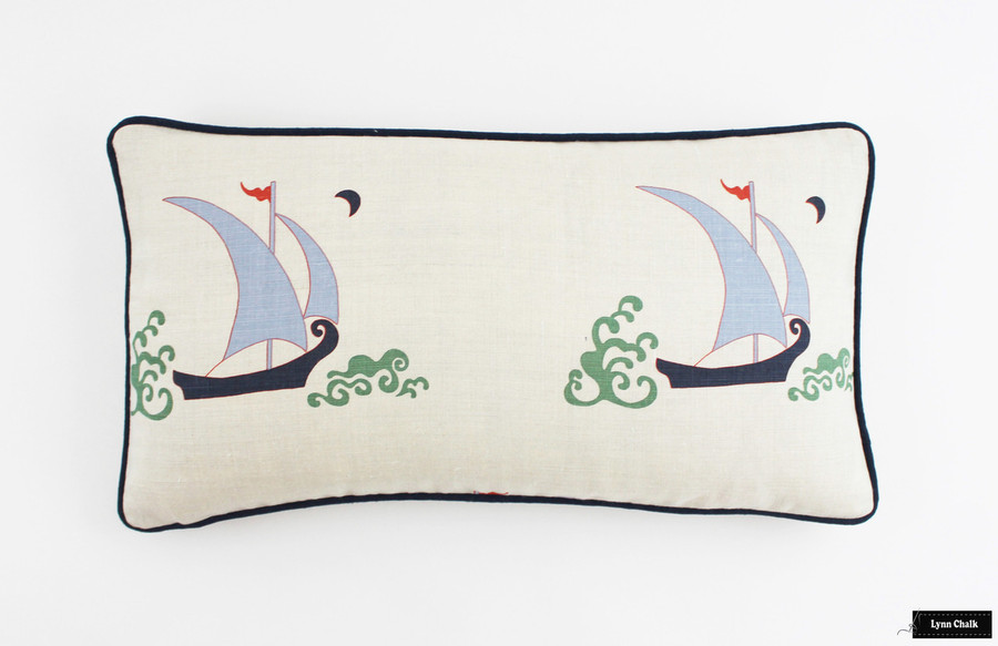 Katie Ridder Beetlecat Pillow in Lavender (12 X 22) with Navy Welting