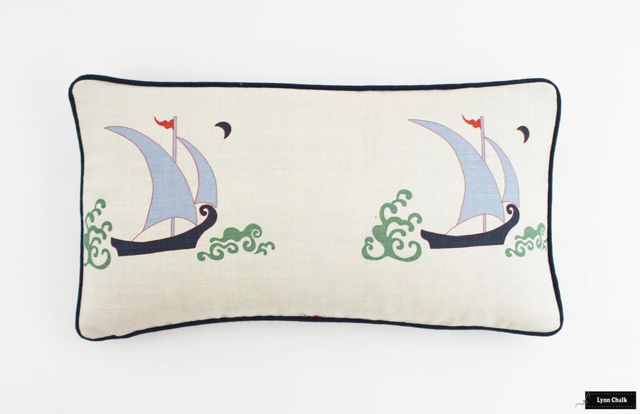 Katie Ridder Beetlecat 12 X 22 Pillow with Navy Welting