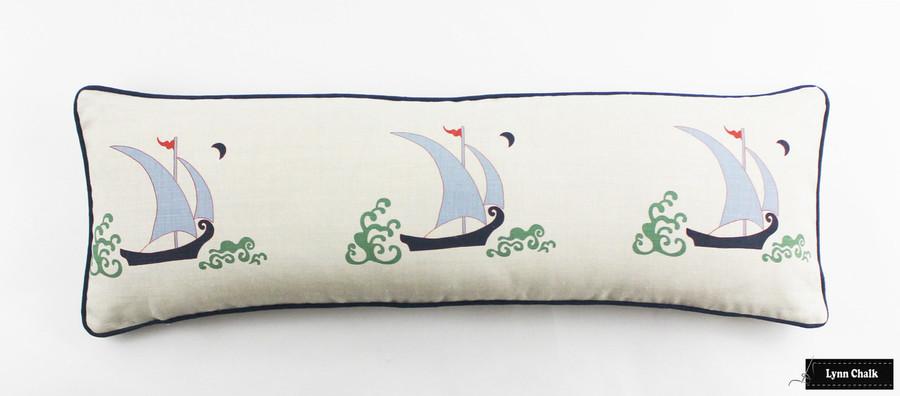 Katie Ridder Beetlecat 12 X 36 Pillow with Navy Welting