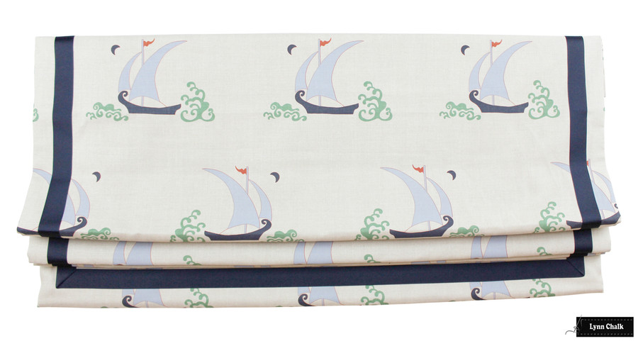 Katie Ridder Beetlecat Roman Shades (shown in Lavender Blue with Tomato Red Trim-also comes in Apricot and Ultramarine)