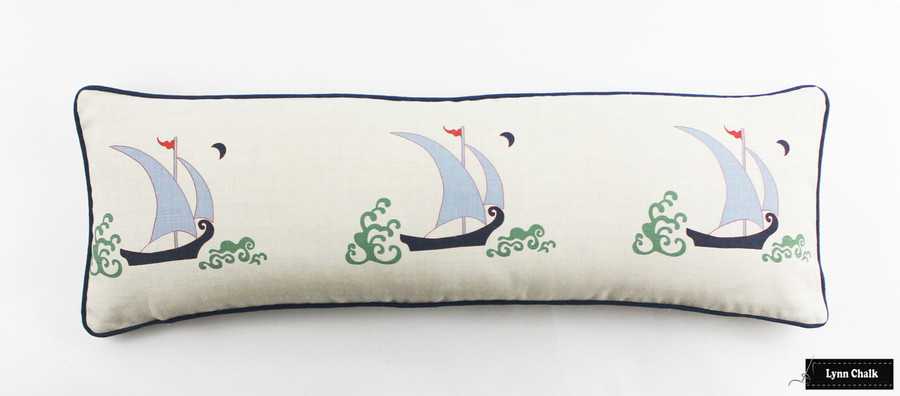 Katie Ridder Beetlecat Pillows 12 X 36 in Lavender Blue with Navy Welting