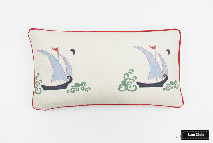 Katie Ridder Beetlecat Pillows 12 X 22 in Lavender Blue with Red Welting