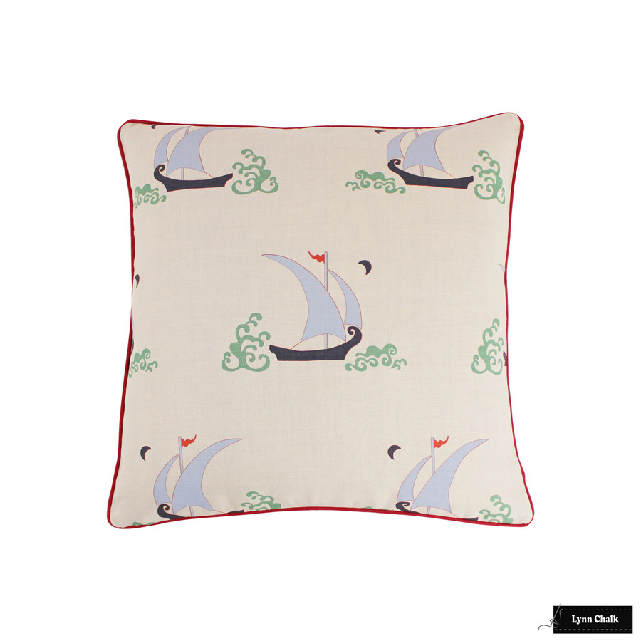 Katie Ridder Beetlecat Pillows 24 X 24 in Lavender Blue with Red Welting