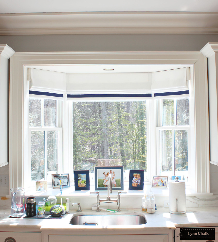 Roman Shades in Schumacher Piet Performance Blanc with Samuel & Sons Grosgrain Ribbon trim in Ink 1.5 inches set in 1.5 inches