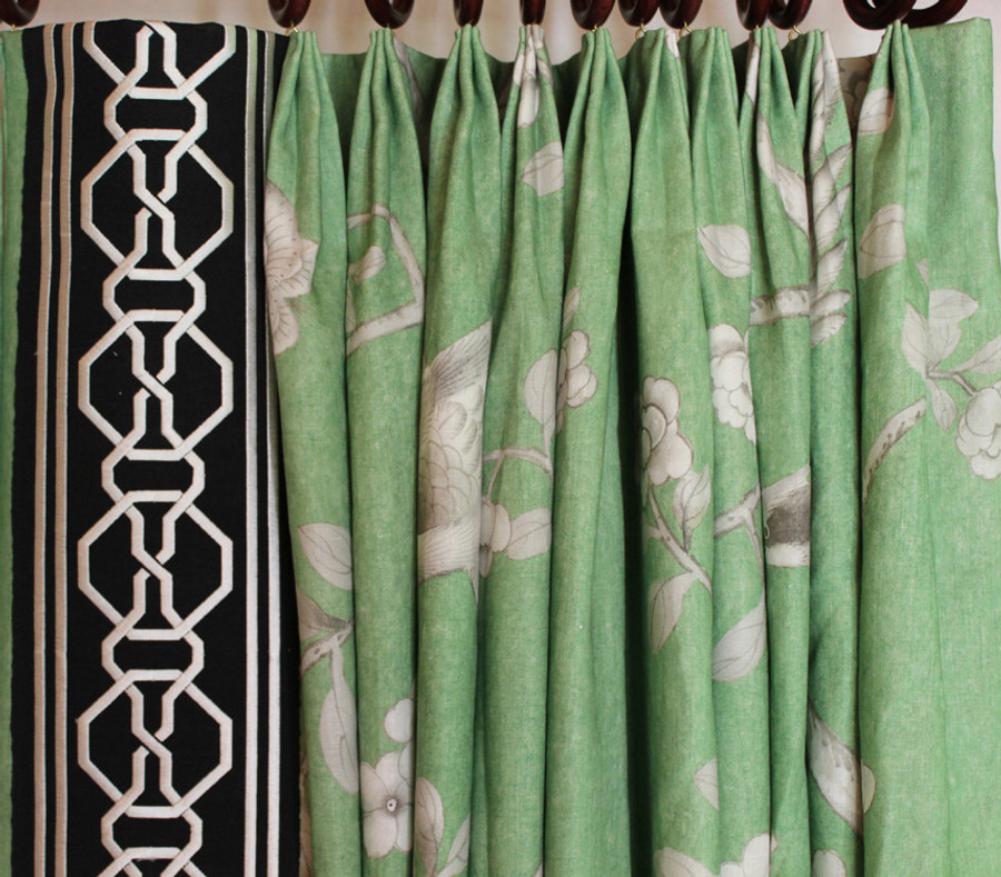 Closeup of Fan Pleats in Mary McDonald Chinois Palais in Lettuce with Malmaison Trim in Noir/Swan (Custom Made by Lynn Chalk)