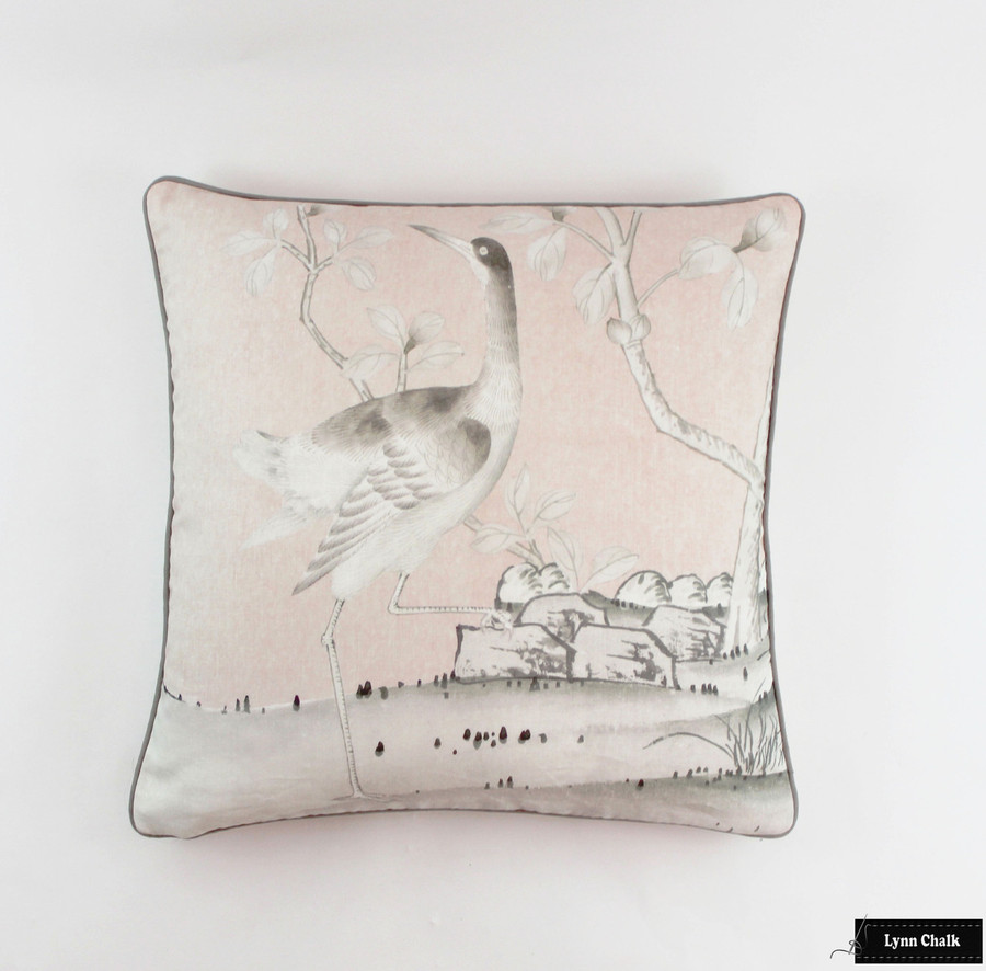 Custom Pillows 24 X 24 in Mary McDonald Chinois Palais in Blush Conch with Robert Allen Kilrush II Nickel Welting