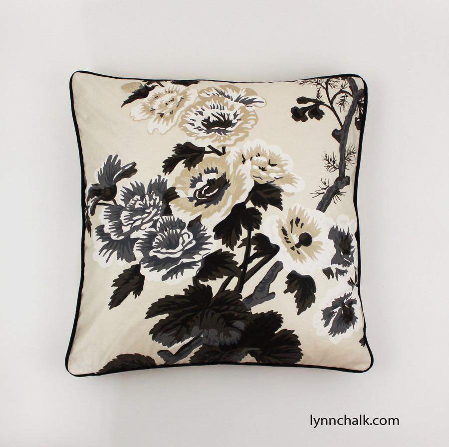 Custom Pillows in Pyne Hollyhock Print in Charcoal with black welting